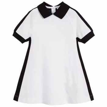 2020 Nuova Lettera Stampata Ragazze Vestito collare Nero Bianco Vestiti per Ragazze Boutique di marca Principessa Ragazze di partito Vestito 3Y 4Y 6Y 10Y 12Y