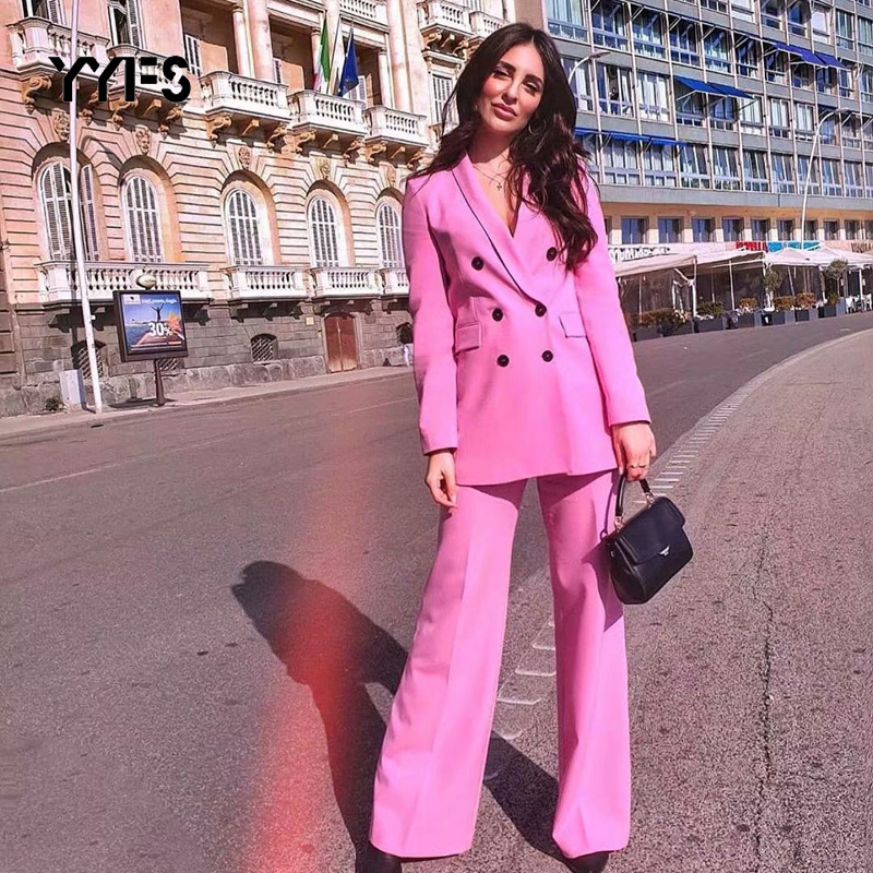 Women Suit Set Blazer Pockets Double Breasted Long Sleeve Office Wear Coat And Causal Pants 2019 New Pant Suits Terno Feminino