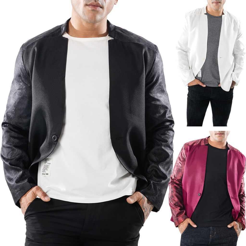 אירופאי ואמריקאי גברים של ללבוש סתיו וחורף טהור-צבע גדול גוף החציים שרוולים עיצוב כפתור גברים של תור צווארון חליפה