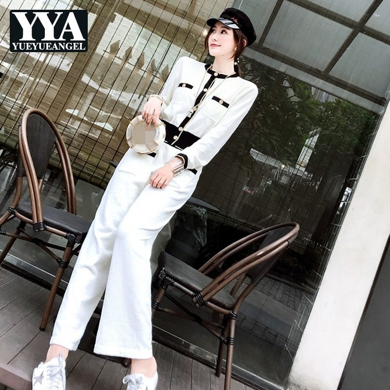 High Street White Chic Set Lady Autumn Single Breasted Shirt+Korean Loose Pants Female Two Piece Knit Shirt Trousers Sets Women