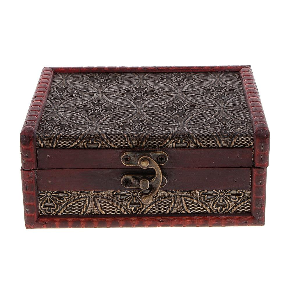 Vintage Wooden Trinket Jewelry Storage Box Treasure Case Organizer
