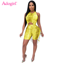цена на Adogirl Snakeskin Print Sexy Two Piece Set Halter Backless Hi Lo Asymmetrical Crop Top + Shorts Women Night Club Party Suits