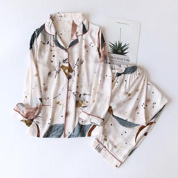 Wiosna lato 2020 nowy 100 wiskoza z długimi rękawami spodnie damskie komplet piżamy proste style długie piżamy damskie usługi w domu tanie i dobre opinie CLOUD COTTON STORY Floral CN (pochodzenie) WOMEN Artificial cotton HLL-RMCC Skręcić w dół kołnierz Pełnej długości