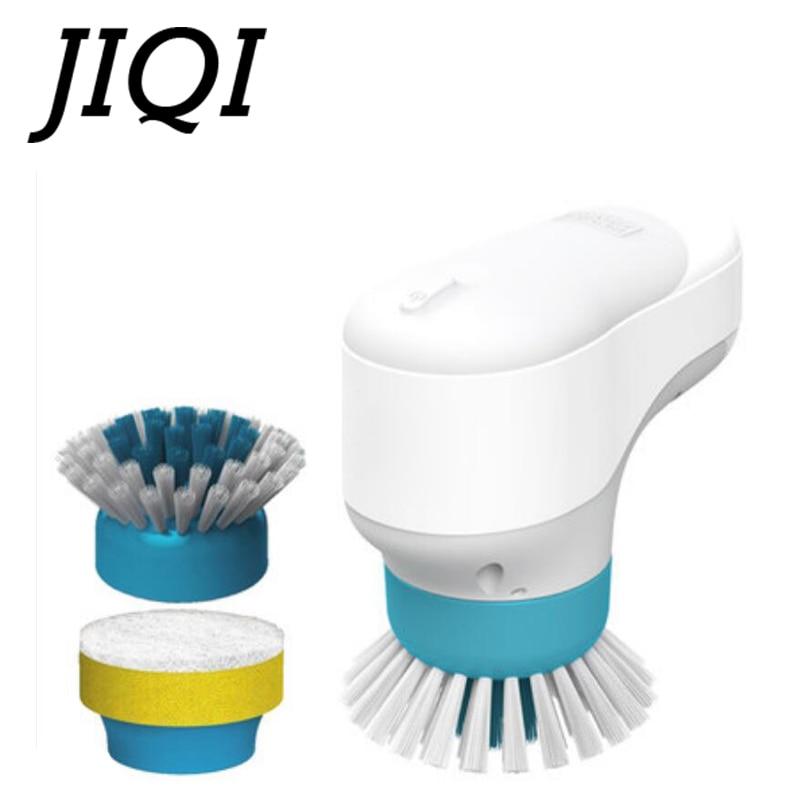 JIQI Handle Electric Multifunction Household Dishwashing Brush Pot Cleaner Dishes Cleaning Brush Tile Bathtub Kitchen Dishwasher