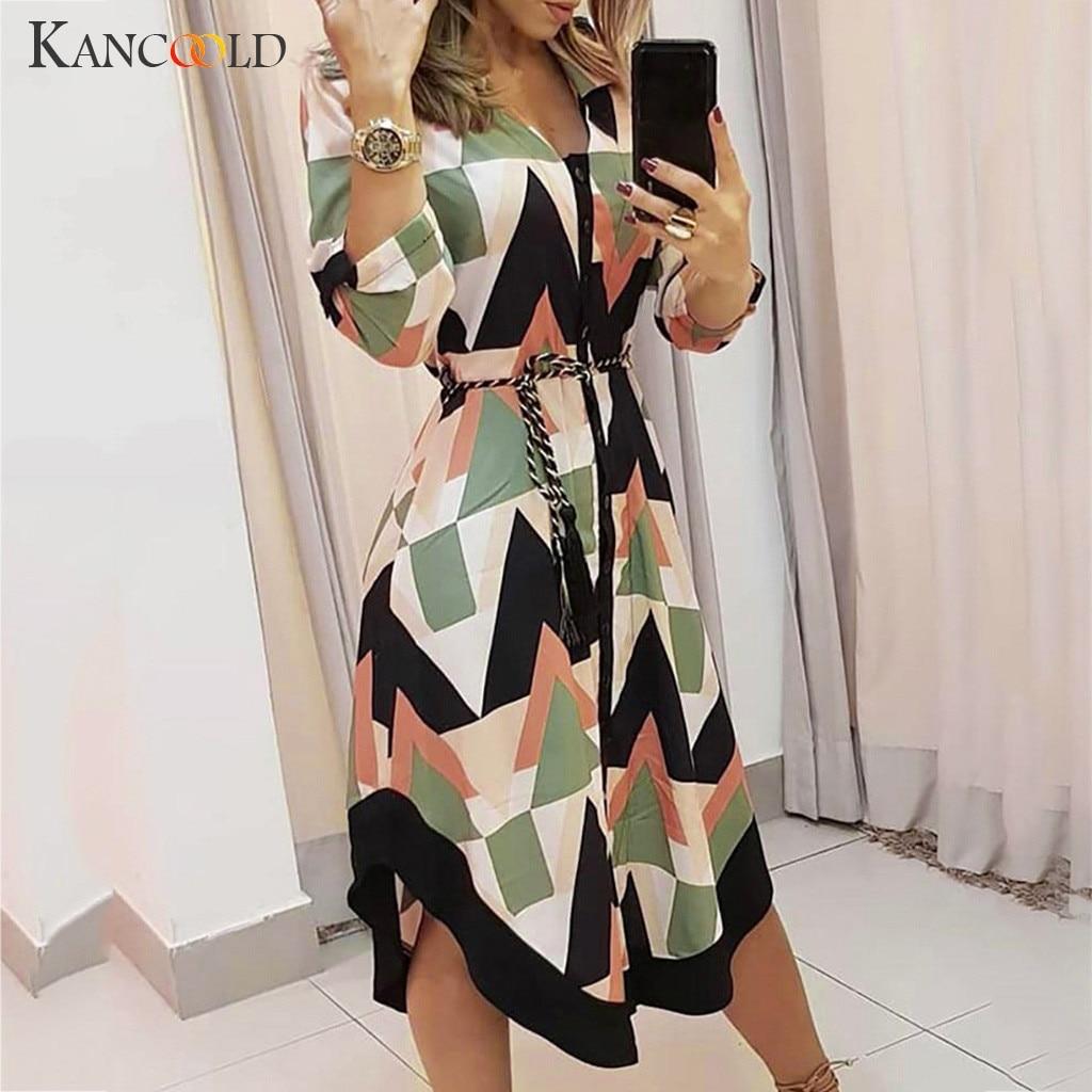 KANCOOLD dress Women Autumn Holiday Style Feminino Print Casual Dress Plus Size Ladies sashes fashion new dress women 2019Sep9