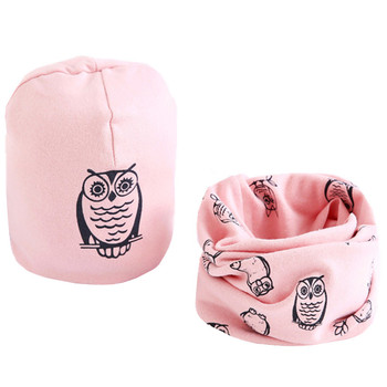 Cartoon Printed Baby's Cotton Hat and Scraf Set 1