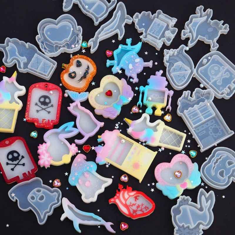 9 formas chegada nova baleia gato coração fantasma abóbora robô movediça pingente molde resina silicone molde jóias fazendo ferramentas