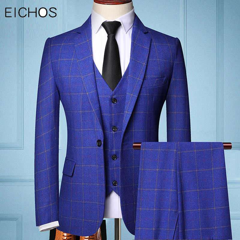 2020 Formal Suits Wedding Dress Men Plaid Groom Coustume Homme Three-piece Slim Mens Suit Navy Blue Gray Tuxedo Male Suits