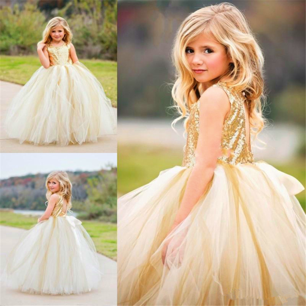 Golden  Sequin Sleeveless Tulle Ball Gowns For Flower Girls Sparkly Dresses For Girls Party Dresses