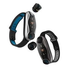 T90 TWS Bluetooth באוזן אוזניות 2 ב 1 BT 5.0 חכם להקת גברים נשים אנדרואיד IOS שעון שיחת כושר צמיד באוזן אוזן ניצנים