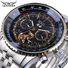 Jaragar Black Silver Tourbillion Automatic Mechanical Watch Men Date Display Stainless Steel Band Watches Top Brand Montre Homme jaragar rose gold automatic mechanical watch men tourbillion male watches calendar display sub dial genuine leather montre homme