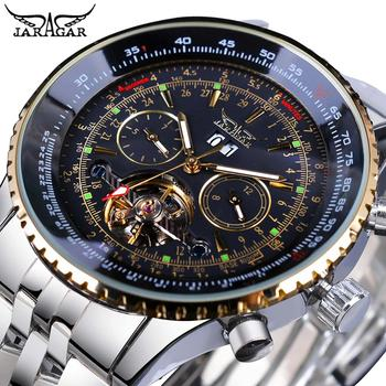 Jaragar Black Silver Tourbillion Automatic Mechanical Watch Men Date Display Stainless Steel Band Watches Top Brand Montre Homme mce men s fashionable stainless steel band analog mechanical watch silver white