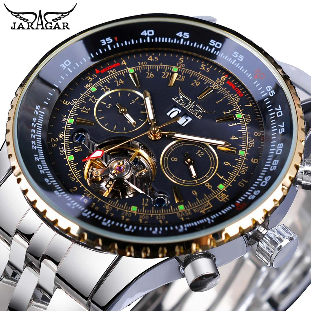 Jaragar Black Silver Tourbillion Automatic Mechanical Watch Men Date Display Stainless Steel Band Watches Top Brand Montre Homme