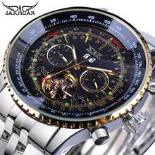 Jaragar Black Silver Tourbillion Automatic Mechanical Watch