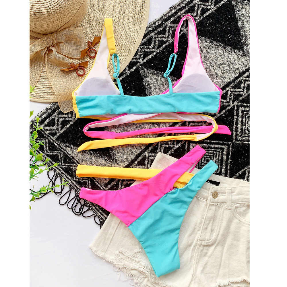 Vigorashely Seksi Cross Perban Baju Renang Wanita Warna Bikini 2020 Baju Renang Wanita Diikat Berlubang Bikini Berenang Memakai