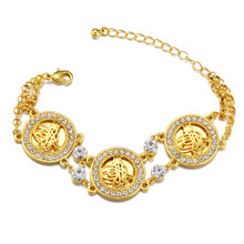 Classic Gold Color Turkey Symbol Rhinestone Chain Bracelet Cocktail Party Luxury Crystal Charm Chain Bracelet Jewelry for Women crystal bead and crown bracelet safety chain luxury strand bracelet