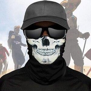 Máscara táctica de calavera y esqueleto para hombre y mujer, máscara mágica sin costuras para cuello, funda de polaina, antivirus, Bandana, diadema, bufanda de tubo