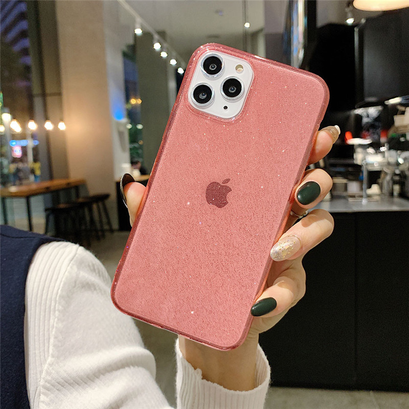 Ottwn Glitter Bling Clear Phone Cover For IPhone 11 X XR XS Max Soft Silicone TPU Back Case For IPhone 6S 7 8 7Plus Fitted Cover