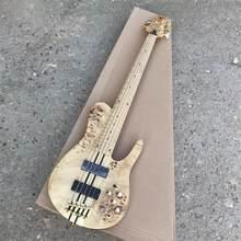 Guitarra Eléctrica con diseño de bajo de madera para el hogar, instrumento musical de diseño moderno con diseño de hojas doradas, perfecto para regalo de cumpleaños, 5 unidades