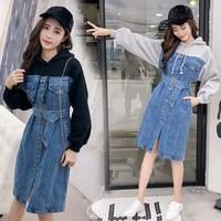Boyfriend Style Sashes Denim Hoodie Dress Autumn Women Loose Patchwork Denim Dress Long Sleeve Jeans Dress