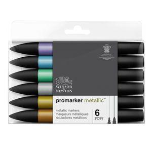 Image 2 - Winsor & Newton Promarkers Twin Tip Marker Pens 6 Colors & 12 Colors Blender Artist Brush Pen