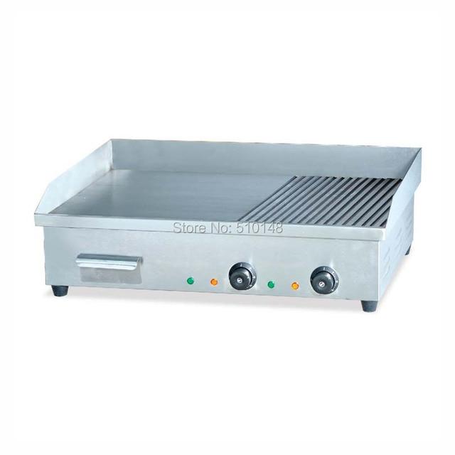 PKJG-EG822 Electric Griddle 2/3 Flat 1/3 Grooved Commercial Kitchen snack
