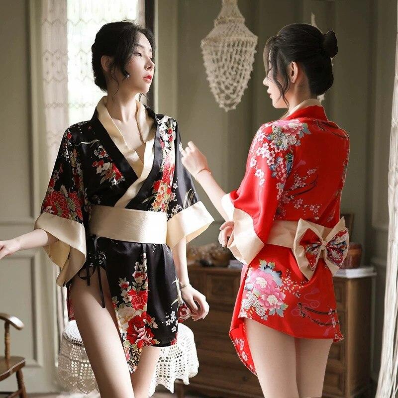 Japanese Sakura Girl Kimono Dress Obi for Women Kawaii Yukata Sexy Long Robe Floral Female Chiffon Japan Style Pajamas Party