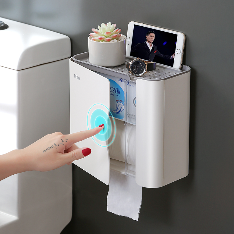 Toilet Paper Shelf Wall-mounted Tissue Box WC Paper Holders Paper Towel Holders for Bathroom Bathroom Accessories Free Punching