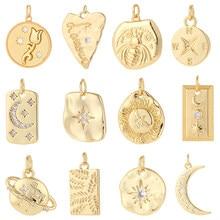 Estrela lua encantos para fazer jóias suprimentos moeda de ouro charme pingente diy design encantos para brincos colar pulseira cobre
