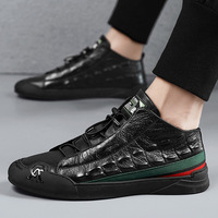2021 Autumn New Fashion Men's Crocodile Leather Flats Casual Shoes Zapatillas Hombre Male High Tops Round Toe Walking Sneakers 1