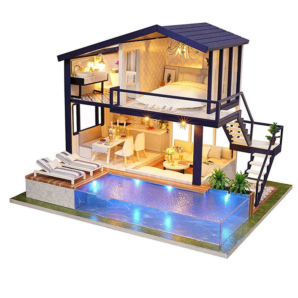 DIY Miniature Dollhouse Furniture Swimming Pool Building Villa Model Kids Toy Baby Girl Doll House Toys Kids Birthday Toys Gift