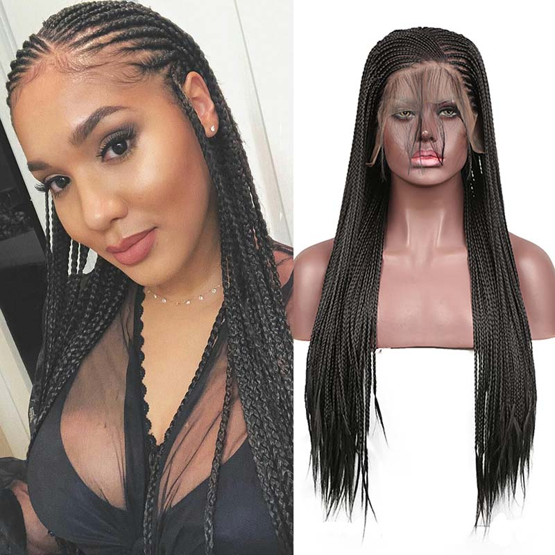 AIMEYA 13×6 Deep Part Micro Braids Wig Black Box Braided Synthetic Lace Front Wigs For Women Half Hand Tied Long Braids Wig