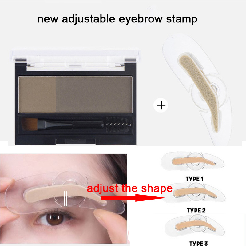 2 Colors Eyebrow Enhancers Powder Makeup Palette Adjustable Eyebrow Stamp With Eye Brow Brush Waterproof Natural Brows Cosmetics