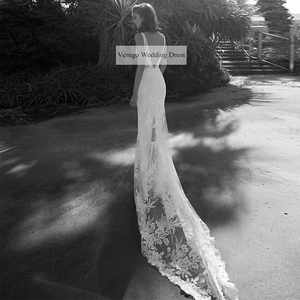 Image 2 - Verngo בת ים חתונת שמלת Boho ללא משענת חתונת שמלות תחרה אפליקציות אלגנטי הכלה שמלת Vestidos דה Noiva Gelinlik 2020