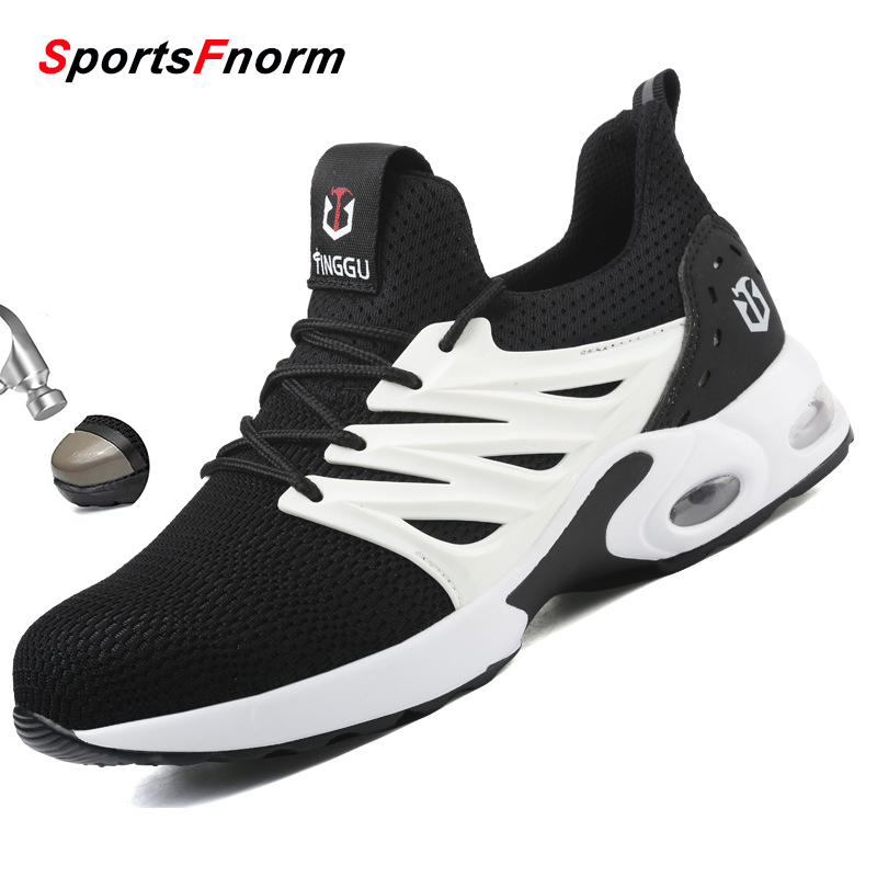 New Air Cushion Men's Safety Shoes Plus Size Steel Toe Anti Smashing Work Shoes Breathable Mesh Sneakers Men Chaussures Hombre