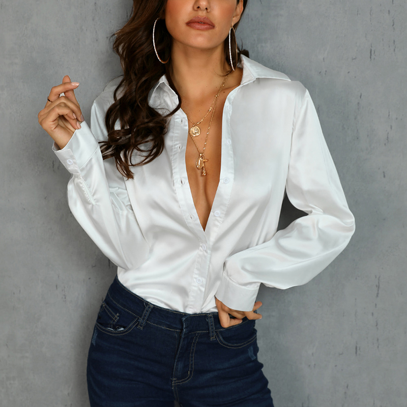 Women Office Lady Stain Work Blouse Long Sleeve Turn Down Collar Solid Casual Shirt 2019 Autumn Fashion Women Tops And Blouse