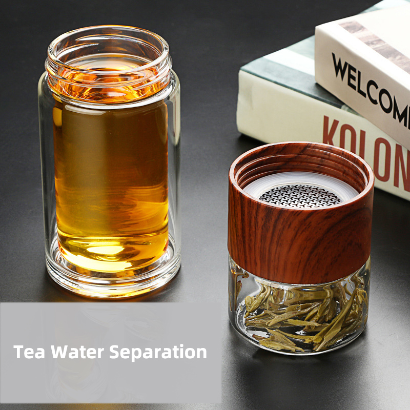 Image 3 - New Double Layer Glass Water Cup Portable High Temperature Resistance Transparent Cup Tea Creative Tea Water Separation CupsTransparent   -