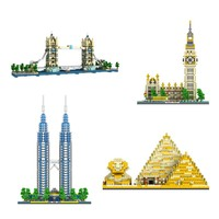 City Construction Series Building Blocks Famous Architecture Pyramid London Tower Bridge Big Ben Educational Toys For Children
