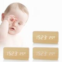 Multifunction Modern Wooden LED Desk Clock Square Sounds Control Digital Alarm Clock With Thermometer Home Decoration
