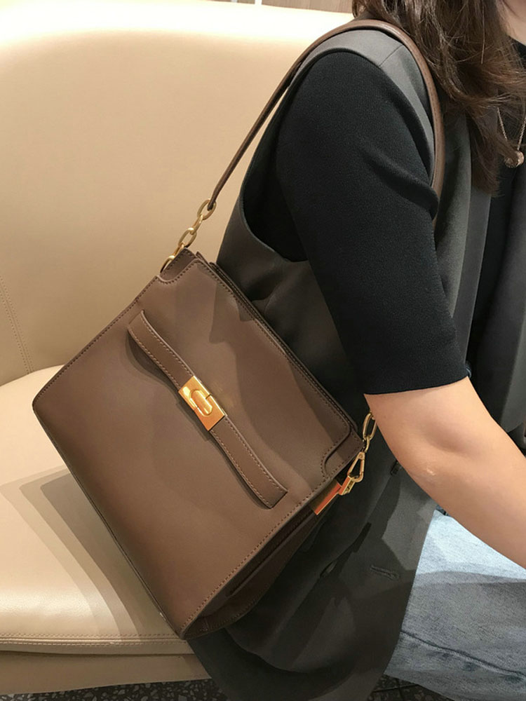 ew Arrival Genuine Leather Women's Handbag Luxury Fashion Elegance Trapeze Leisure Shoulder Bag Crossbody Tote Messenger Bags