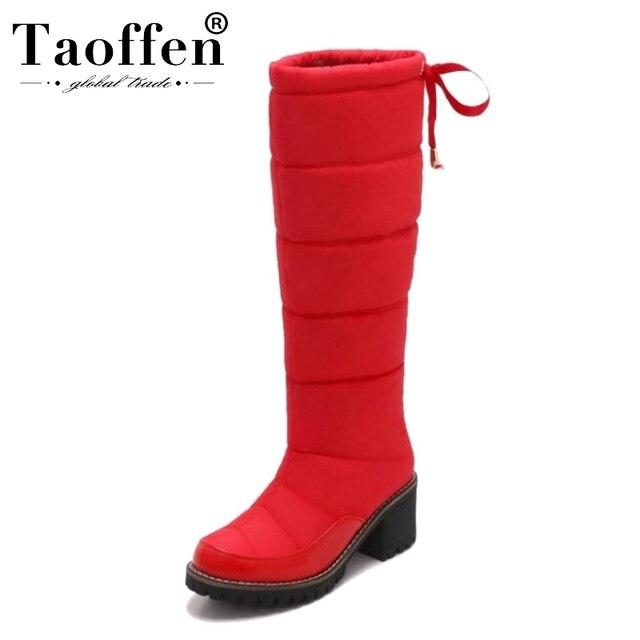 Taoffen 여성 겨울 무릎 높은 부츠 여성을위한 따뜻한 코 튼 신발 봉 제 모피 두꺼운 뒤꿈치 부츠 레이스 업 플랫폼 신발 크기 34 42
