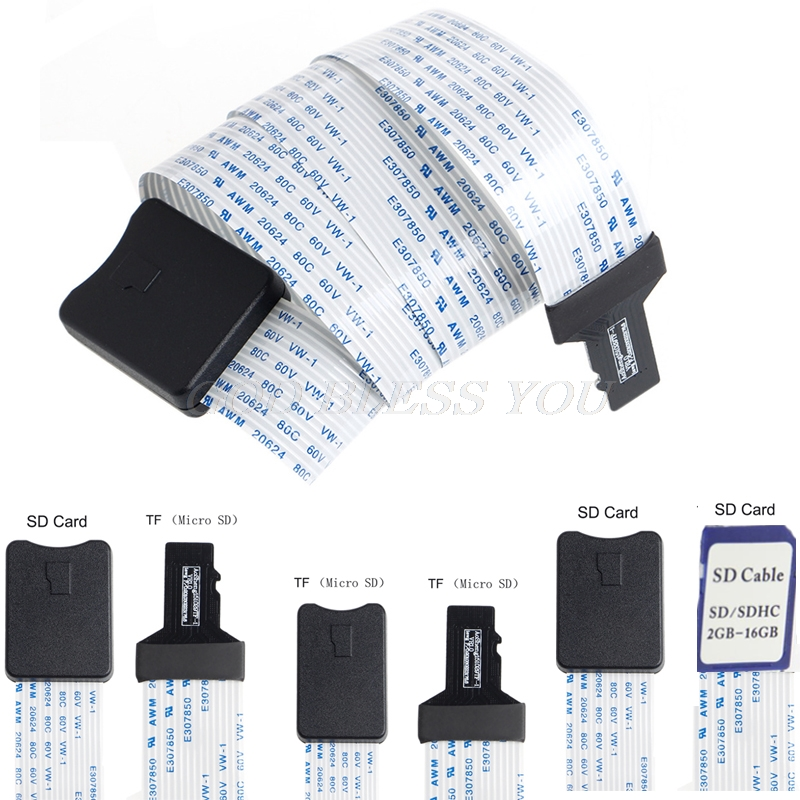48CM/60CM SD Card Female To TF Micro SD Male SD To SD/TF To TF Flexible Card Extension Cable Extender Adapter Reader