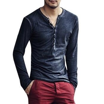 SHUJIN Men T Shirt V-neck Long Sleeve Tee&Tops Stylish Slim Buttons T-shirt Autumn Casual Solid Male Clothing Plus Size 3XL 2