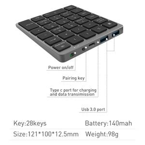Image 2 - Bluetooth Numeric Keyboard Protable Keypad with USB Hub Splitter Aluminium Alloy Cover For Android phone Ipad Macbook Windows