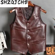 Jacket Men Vests Coats Biker-Leather Vintage 100%Cowhide Short JCHB 20
