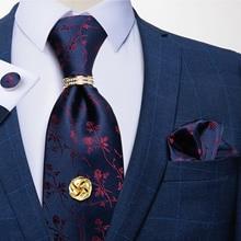 Модные мужские галстуки роскошный синий красный цветочный набор шелковых галстуков Hanky запонки галстук кольцо галстук Tack подарок для мужчи...