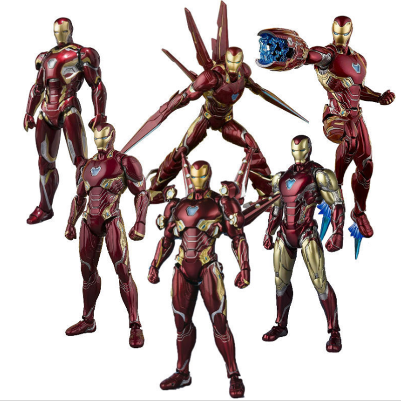 In Stock SHF Avengers Iron Man MK50 Nano Battle Armor Mk85 Nano Weapon PVC Action Figures Model Toys Gift Doll 15CM