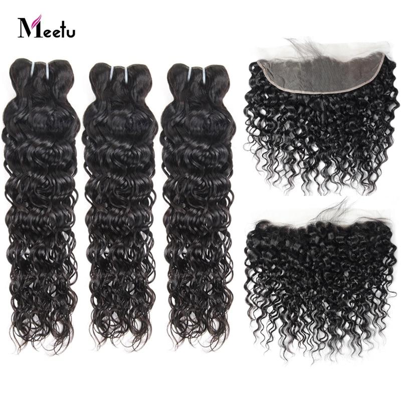 Meetu волнистые человеческие волосы 3 пряди с закрытием индийские волосы Remy 13x4 дюймов кружева фронтальной с пряди волос бесплатная часть