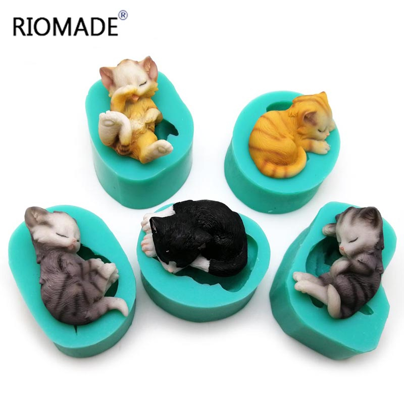 3d Kittens <font><b>Silicone</b></font> <font><b>Mold</b></font> <font><b>Fondant</b></font> <font><b>Molds</b></font> <font><b>Cake</b></font> <font><b>Decorationing</b></font> <font><b>Tools</b></font> Lovely Cat Chocolate Sugar Cupcake Animal kitchen Baking Mould image