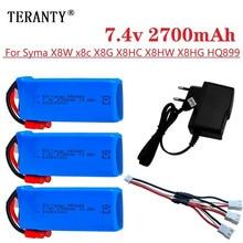 Atualize a bateria de 2700mah 7.4v rc para syma x8c x8w x8g rc zangão peças sobresselentes 2s 7.4v 853480 lipo bateria vs 7.4v 2500mah 903480